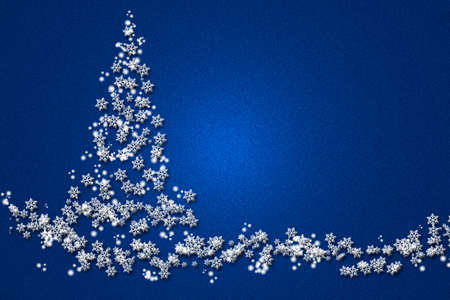 Beautiful Christmas tree made of volumetric snowflakes on a blue background.