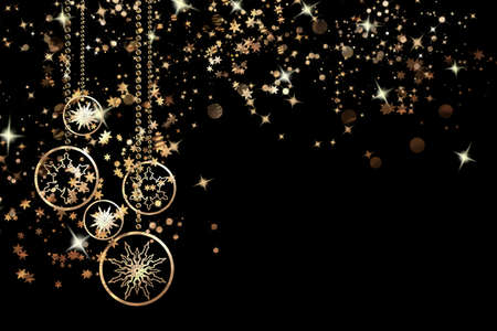 Christmas banner. Xmas background design of sparkling lights garlands, snowflakes and glitter gold confetti on a black background. Christmas poster, greeting cards, headers, website Stock Photo