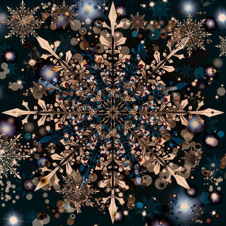 Unusual colorful snowflake, futuristic style of New Year card.