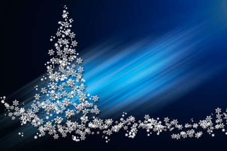Christmas and New Year blue glowing background with a Christmas tree made of volumetric white stars and snowflakes.