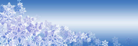 Panoramic blue Christmas background with beautiful snowflakes. Space for text, copy-space. Stock Photo