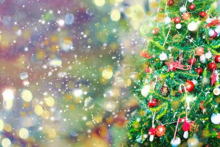 Blurred Christmas background, Christmas tree, snow, Christmas.