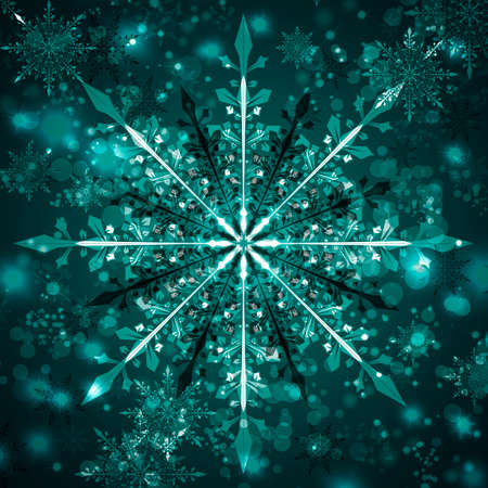 Snowflake Christmas turquoise design background.