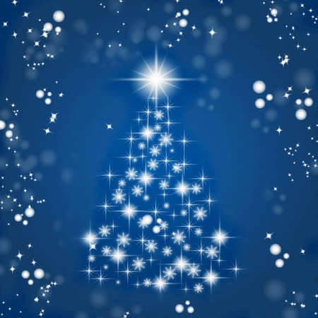 Christmas tree on a blue background. A beautiful Christmas tree as a symbol of Happy New Year, Merry Christmas. decoration light. Bright shiny design.