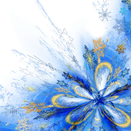 Abstract futuristic pattern with snowflakes on a white background. Space for text, copy-space.