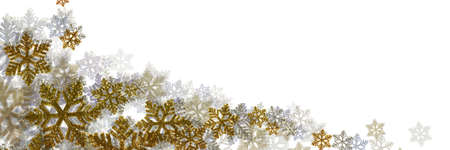 Beautiful snowflakes isolated on white background. Panoramic Christmas background for design. Space for text, copy-space.