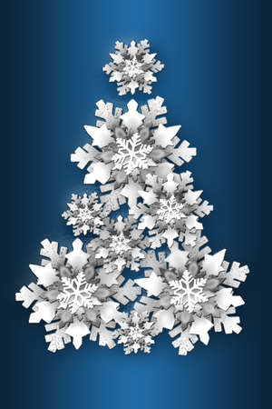 Christmas tree made of cut paper snowflakes on a blue background.