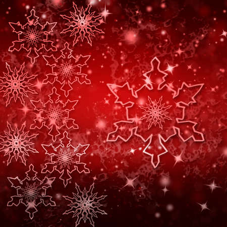Red Christmas background. Holiday card with snowflakes for posters, banners.