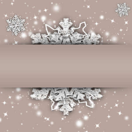 New Year card with snowflake and place for text, copyspace. 3d