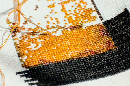 A close up of embroidery. DIY.