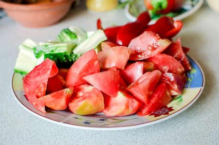Fresh tomato and cucumber salad. Diet food, vegetarianism.