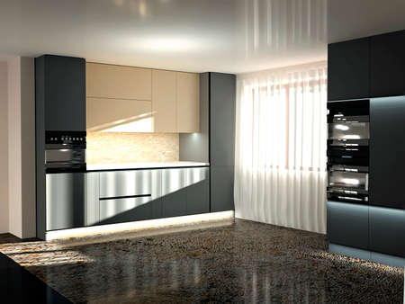 Beautiful modern kitchen interior with furniture and appliances. Design and lifestyle concept. 3D rendering Standard-Bild