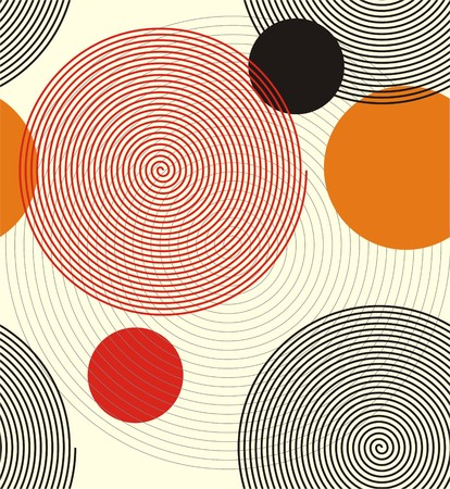 form a circle: Spiral lines. A seamless pattern of spiral lines form a circle; combine with orange, red and black circles, superimposed on each other. Illustration
