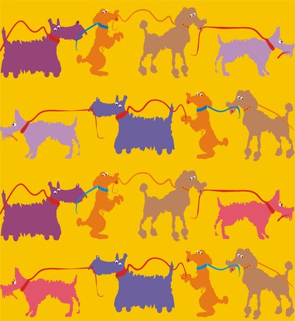 scotch: Dogs. A seamless pattern of lead dogs on yellow background.