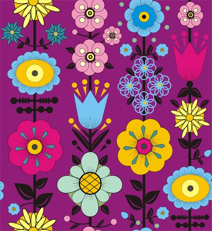 Flowers and leaves. Illustration