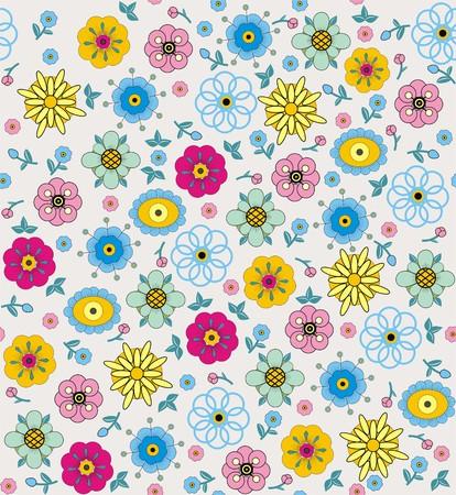 folksy: Flowers and leaves. Illustration
