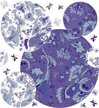 folksy: Floral ornaments. A seamless pattern with floral ornaments of butterflies, flowers, leaves and berries, blue and dark blue color on a white background. Illustration