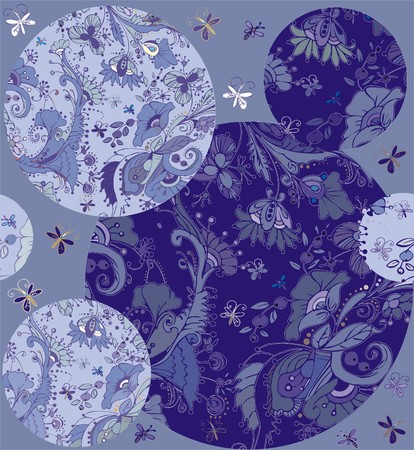folksy: Floral ornaments. A seamless pattern with floral ornaments of butterflies, flowers, leaves and berries, blue and dark blue color on a blue background. Illustration