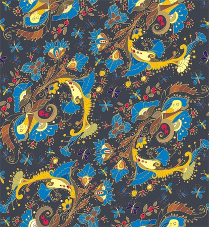folksy: Floral ornaments. A seamless pattern with floral ornaments of butterflies, flowers, leaves and berries, yellow, blue, beige, brown and red color on a gray background. Illustration