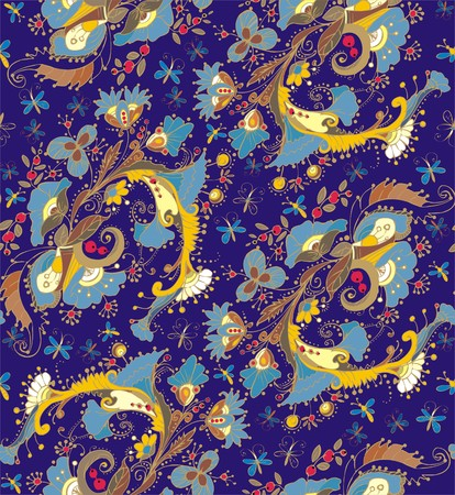 folksy: Floral ornaments. A seamless pattern with floral ornaments of butterflies, flowers, leaves and berries, yellow, blue, beige, brown and red color on a dark blue background.