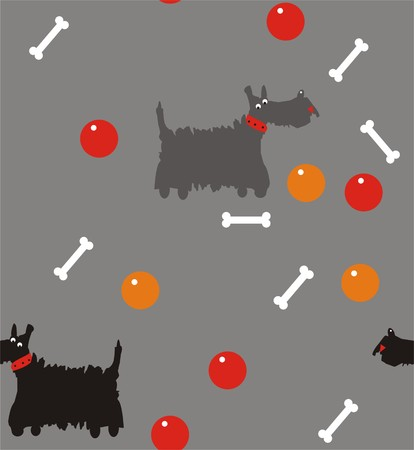 white stones: Scotch terrier a seamless pattern of Scotch terrier gray and black on a gray background with white stones and red and orange balls.