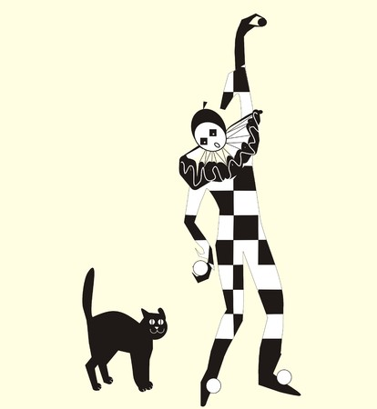 cat suit: Harlequin in a checkered suit with fun collar and a fun cat. Vector drawing.