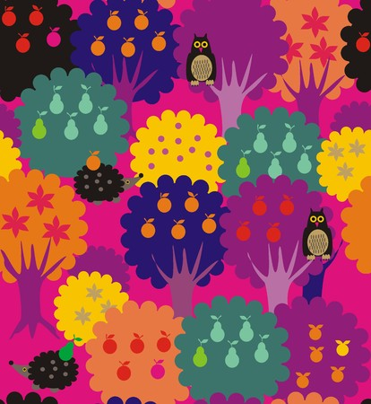 primeval: Forest-garden. A seamless pattern of fairy garden with yellow, green, orange, black, blue and purple trees with pears, and leaves with owls and hedgehogs.