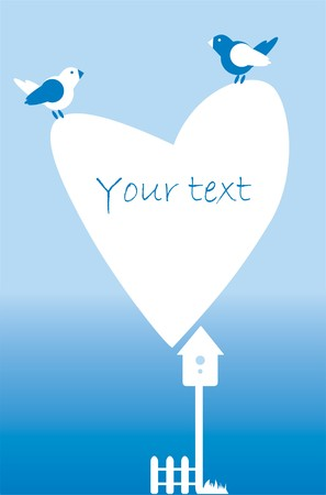 starling: Postcard invitation with heart, fence, birds, birdhouse in white and blue on a blue background.