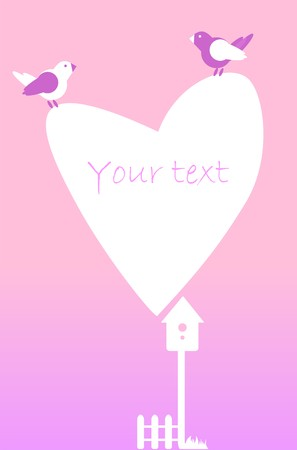starling: Postcard invitation with heart, fence, birds, birdhouse in white and purple on a pink background.