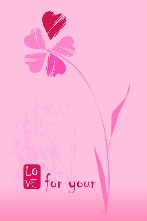 Postcard for Valentin day with flower which has a petals from a hearts in pink, purple and red on a pink background.