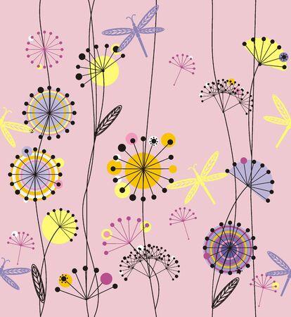 dandelions: Dandelions flowers with leaves. Illustration