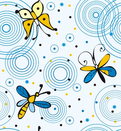 Butterflies and dragonflies on water Illustration