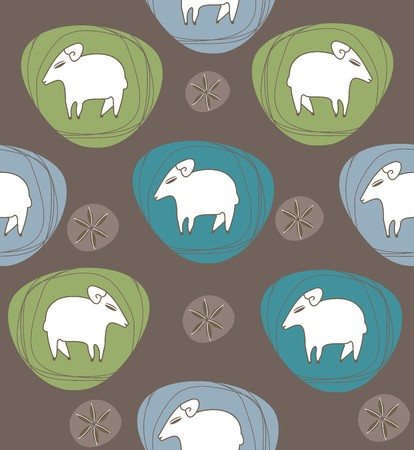 dark olive: A sheep in ovals white, green, black and blue a seamless pattern on a gray background.