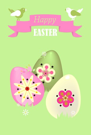 Postcard with a birds and Easter eggs in white, green, pink and red colors on a green background.