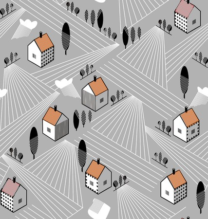 Rural landscape with houses and agriculture fields in red, white and gray colors a seamless pattern on a grey background.