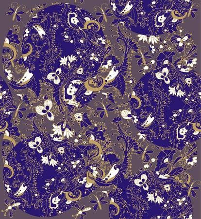 Floral ornaments. A seamless pattern with floral ornaments of butterflies, flowers, leaves and berries in blue, beige, white and dark blue colors on a gray background.