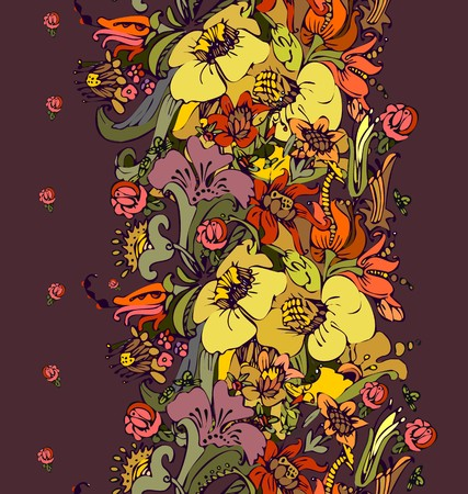 Bright floral ornamental in frieze of garden flowers