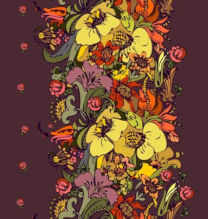 Bright floral ornamental in frieze of garden flowers