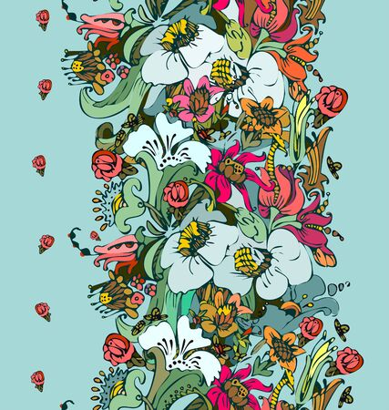 Bright floral ornamental in frieze of garden flowers in red, purple, orange, green and pink a seamless pattern on a green gray background.