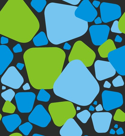 Stones pattern. A seamless pattern of a stones green, light blue and blue on a black background.