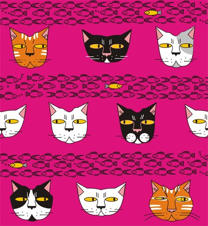Cats think about fish in white, gray, red, pink, yellow, black a seamless pattern on a purple background.