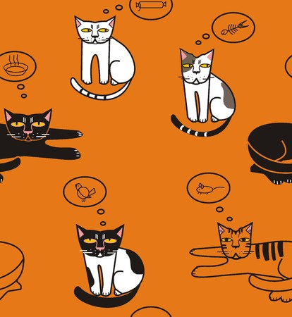 Cats think about fish, sausage, mouse and bird, bowl - white, gray, red, pink, yellow, black a seamless pattern on a orange background.