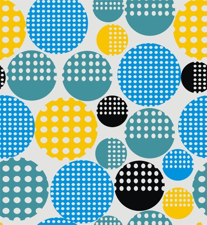 Abstract geometry from circles with holes in yellow, pink, blue, black. A seamless pattern on a light gray background.