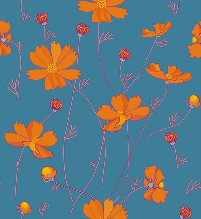 Orange cosmos flowers in orange, green, yellow and purple a seamless pattern on a blue background.