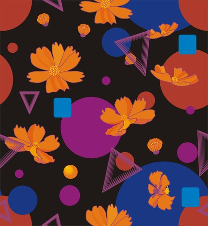 Orange cosmos flowers with geometric shapes of triangles, circles, squares in orange, blue, pink, yellow and purple a seamless pattern on a light gray background  イラスト・ベクター素材