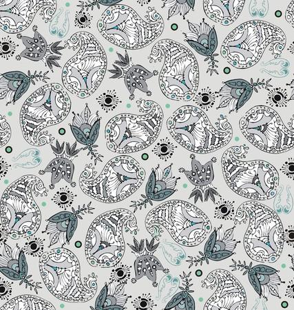 Cucumber floral motive with trefoil ornamental elements Illustration