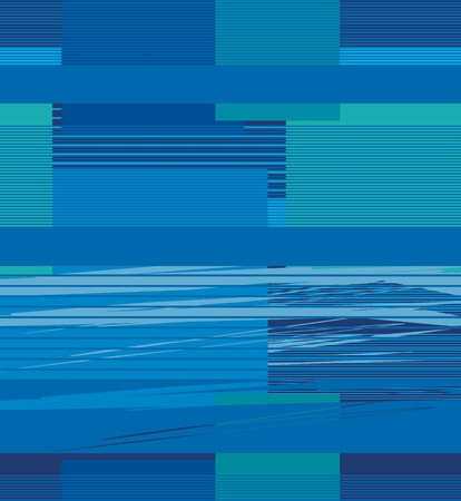 Bright horizontal lines forming rectangles in blue and green a seamless pattern on a blue background.
