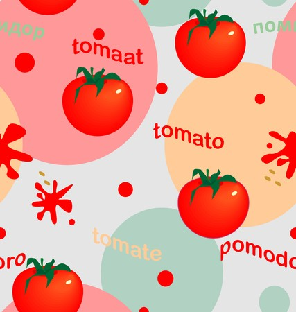 Bright tomatoes on colored circles in red, green, pink, beige colors a seamless pattern on a white background.