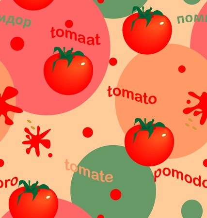 Bright tomatoes on colored circles in red, green, pink, beige colors a seamless pattern on a beige background.