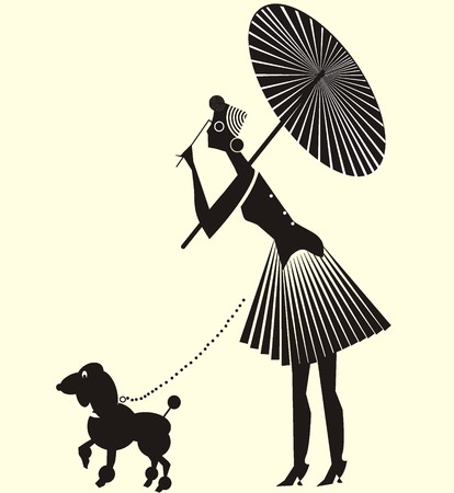 Lady in dress formed spiral folds with dog. Vector drawing with lady with dress formed spiral folds with umbrella and a fun dog on a leash. Stock Vector - 127501903